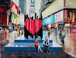 Love in the CIty by Torabi - Original Painting on Box Canvas sized 39x30 inches. Available from Whitewall Galleries