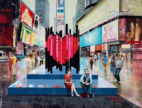 Love in the CIty by Torabi - Original Painting on Box Canvas